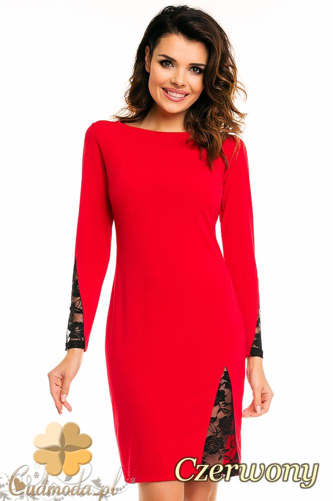 CM2139 Ołówkowa sukienka z koronkowymi wstawkami - czerwona