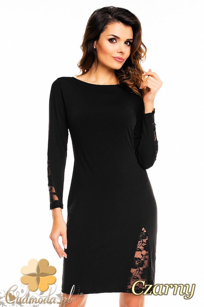 bd5f1e4ecfa171 CM2139 Ołówkowa sukienka z koronkowymi wstawkami - czarna ...