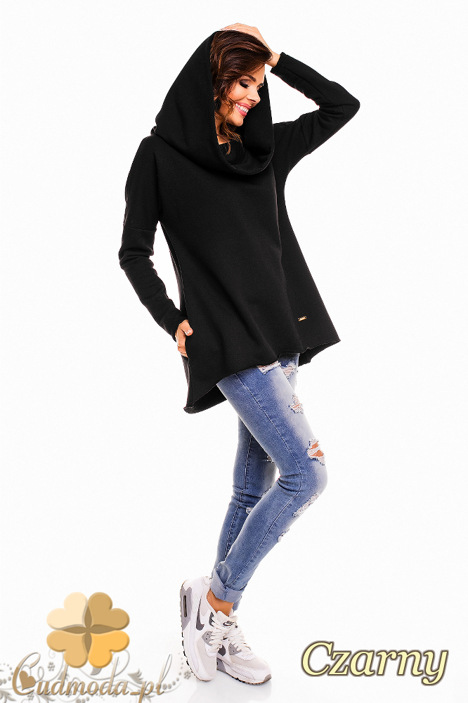 CM2140 Luźna bluza oversize z kapturem - czarna