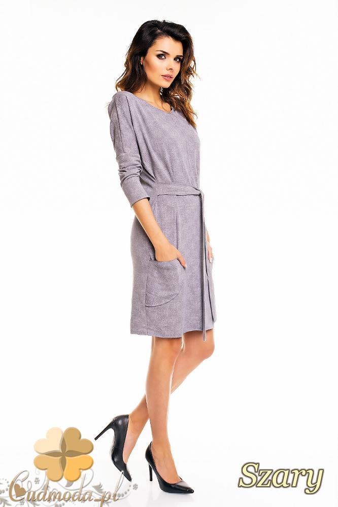 CM2141 Ołówkowa sukienka przewiązana w talii - szara