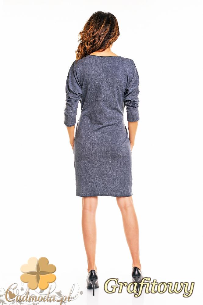 CM2141 Ołówkowa sukienka przewiązana w talii - grafitowa