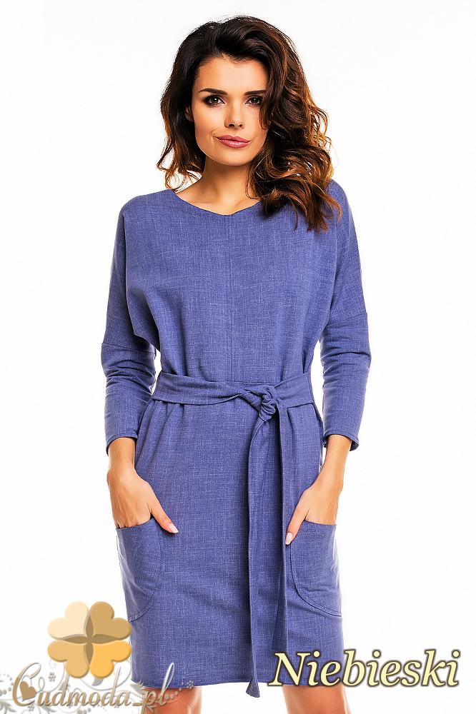 CM2141 Ołówkowa sukienka przewiązana w talii - niebieska