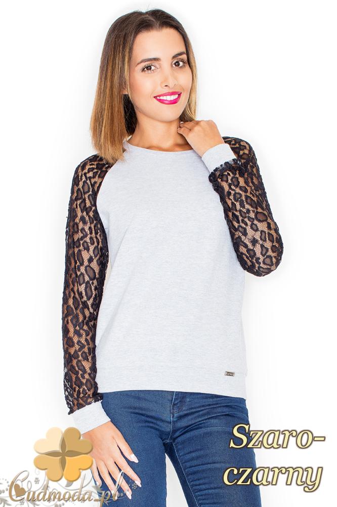 CM2154 Kobieca bluzka z koronkowymi rękawami - szaro-czarna