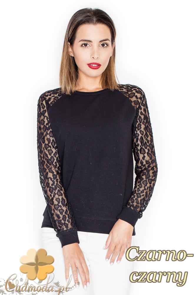 CM2154 Kobieca bluzka z koronkowymi rękawami - czarno-czarna