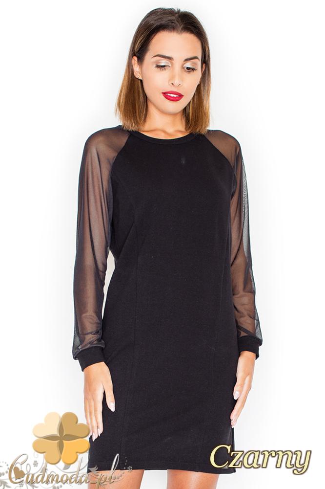 CM2155 Wieczorowa sukienka z szyfonowymi rękawami - czarna