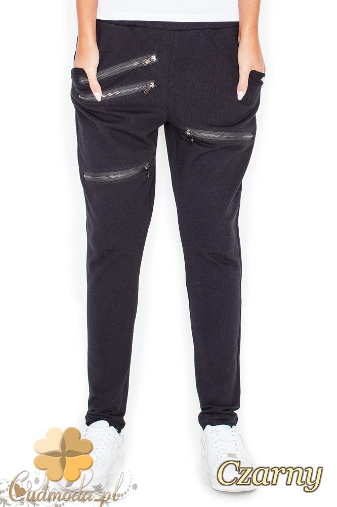CM2156 Dresowe spodnie damskie z zamkami - czarne