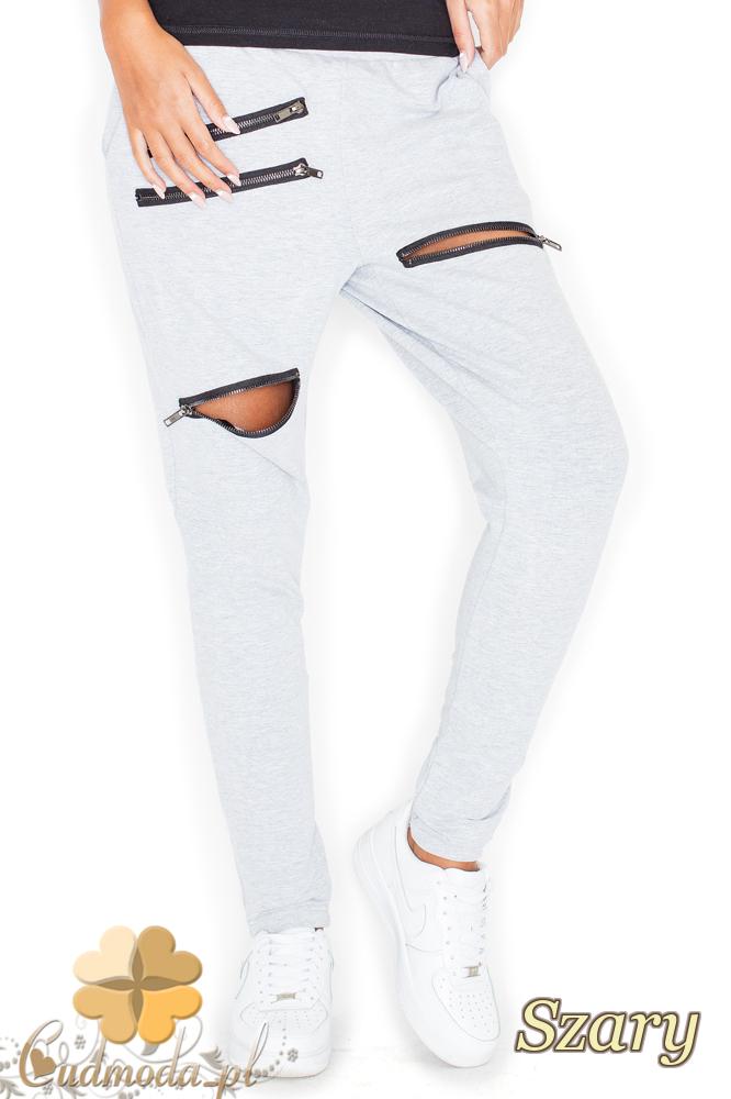 CM2156 Dresowe spodnie damskie z zamkami - szare