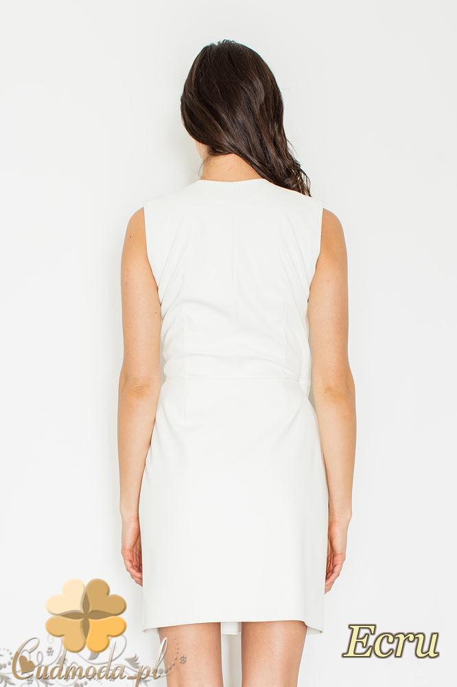 CM2158 Skórzana kopertowa sukienka z zakładką - ecru