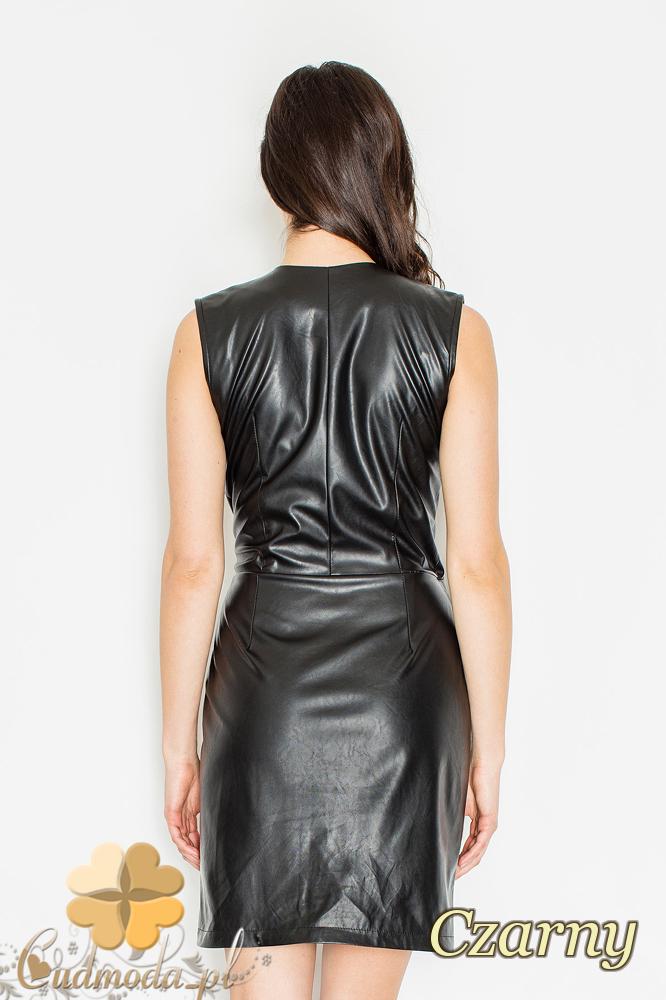 CM2158 Skórzana kopertowa sukienka z zakładką - czarna