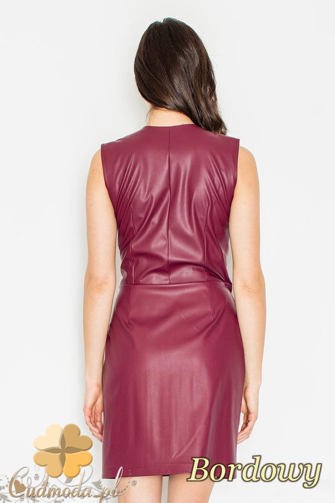 CM2158 Skórzana kopertowa sukienka z zakładką - bordowa