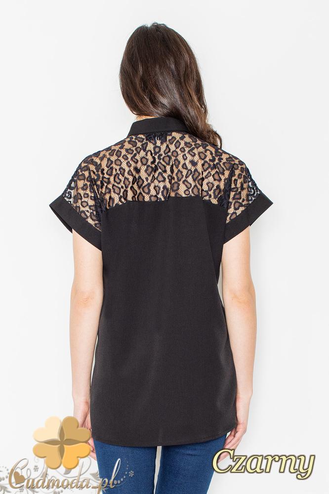 CM2159 Koronkowa koszula zapinana na guziki - czarna