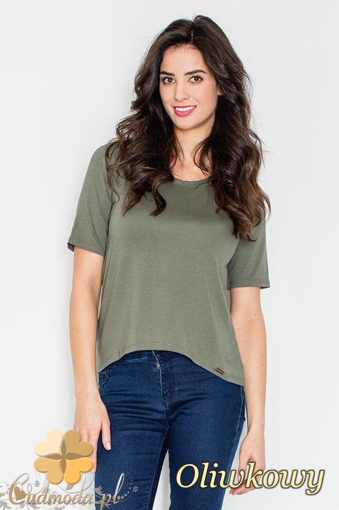 CM2161 Bluzka damska z odsłoniętymi plecami - oliwkowa
