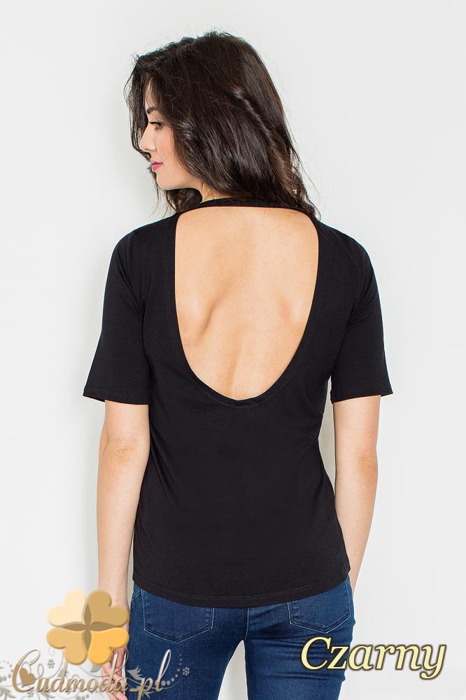 CM2161 Bluzka damska z odsłoniętymi plecami - czarna