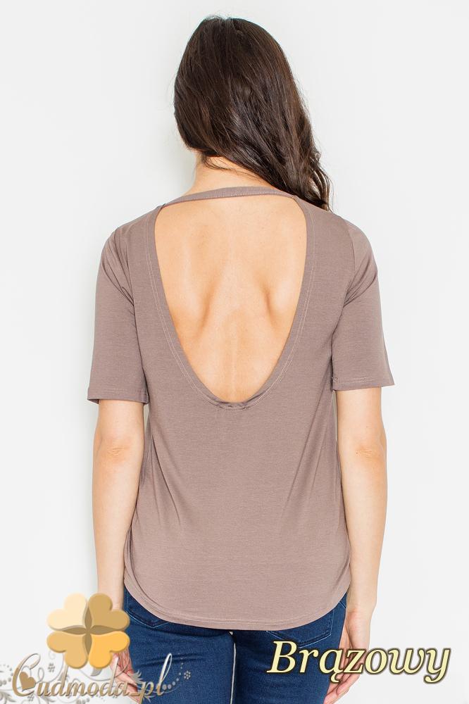 CM2161 Bluzka damska z odsłoniętymi plecami - brązowa