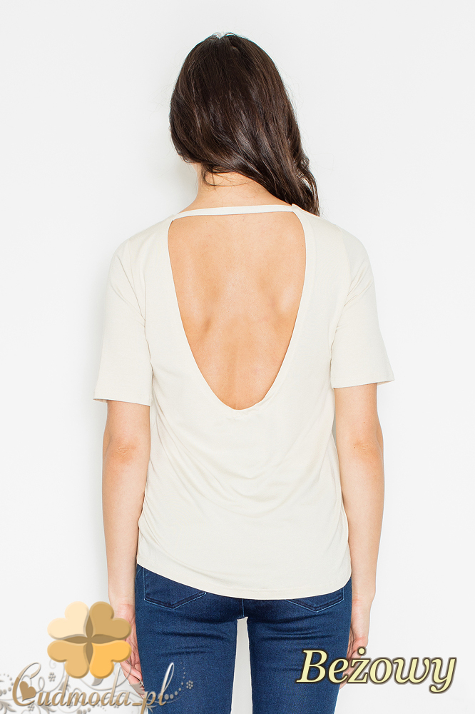 CM2161 Bluzka damska z odsłoniętymi plecami - beżowa