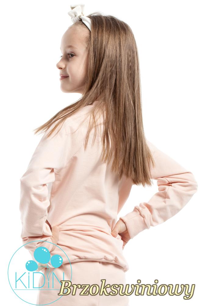CM2162 Dziewczęca bluzeczka w brokatowe koła - brzoskwiniowa