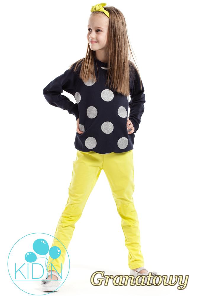 CM2162 Dziewczęca bluzeczka w brokatowe koła - granatowa