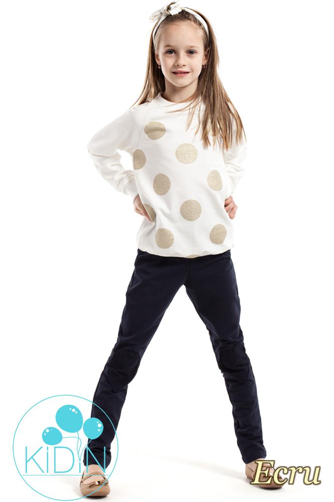 CM2162 Dziewczęca bluzeczka w brokatowe koła - ecru