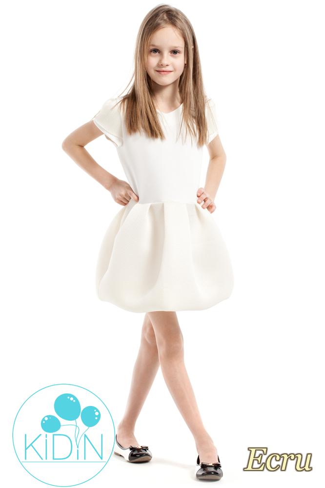 CM2163 Rozkloszowana sukienka bombka - ecru
