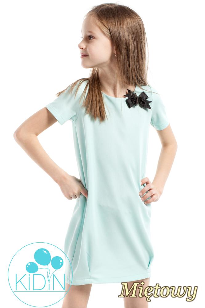CM2164 Gładka dziecięca sukienka z kokardką - miętowa