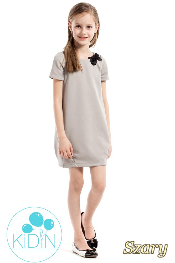 CM2164 Gładka dziecięca sukienka z kokardką - szara