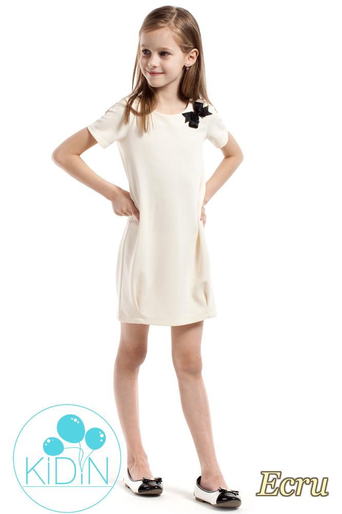 CM2164 Gładka dziecięca sukienka z kokardką - ecru