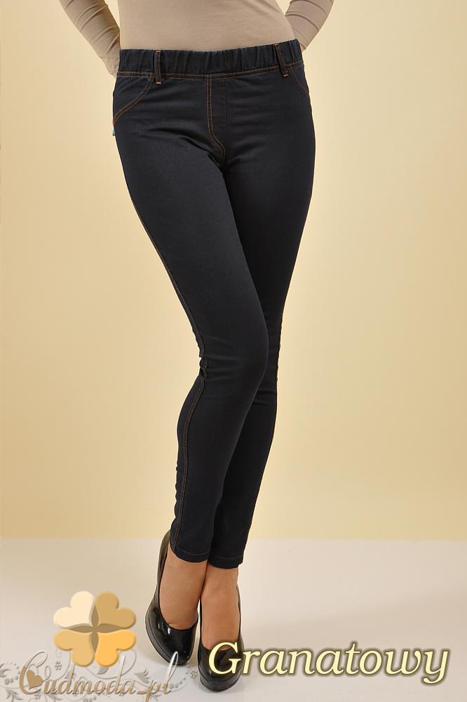 CM0132 Legginsy jeans z kieszeniami - granatowe OUTLET