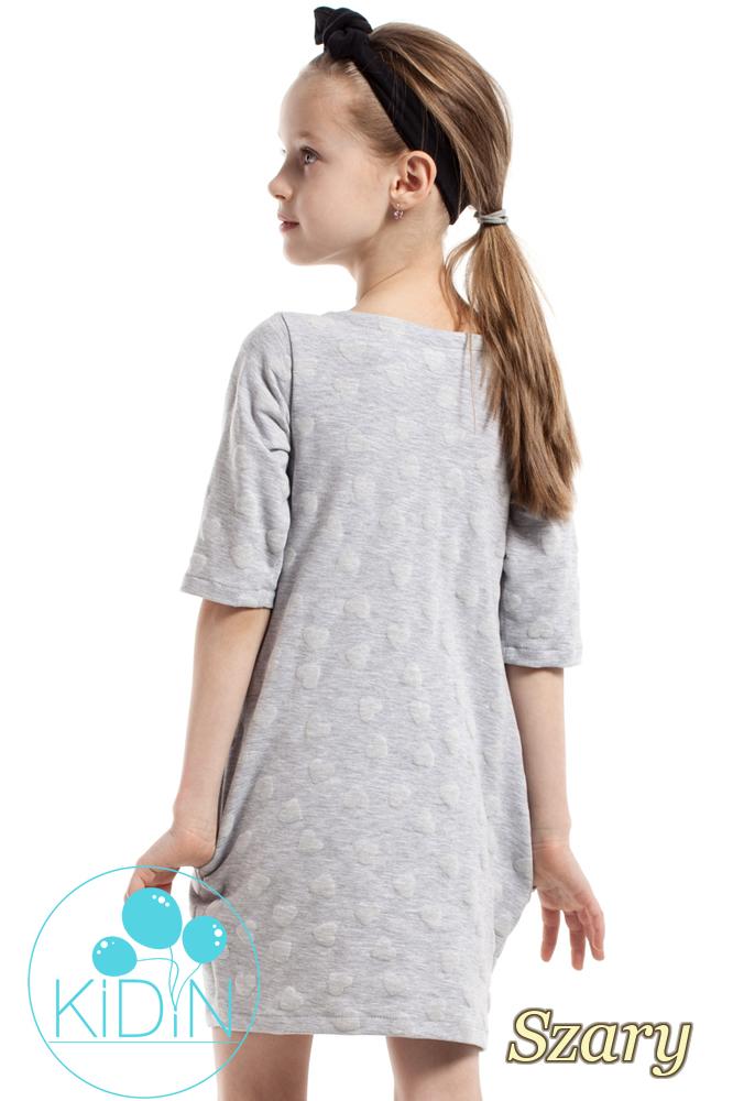 CM2165 Nowoczesna sukienka w wystające serduszka - szara