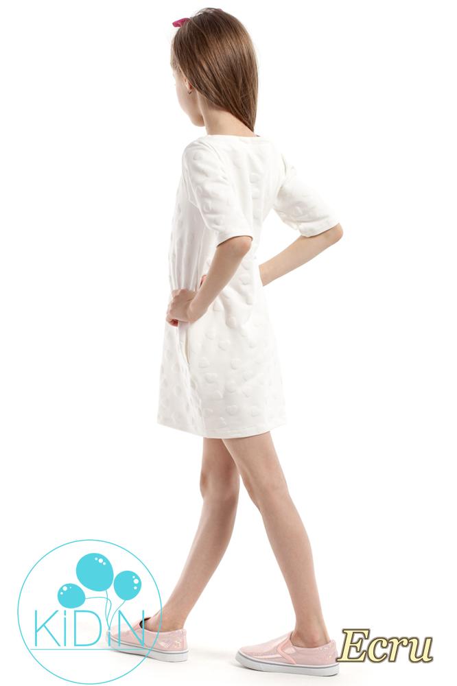 CM2165 Nowoczesna sukienka w wystające serduszka - ecru