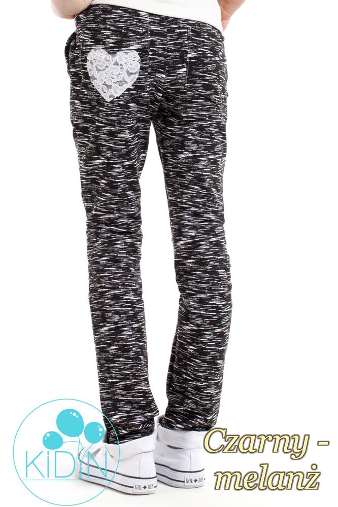 CM2167 Dresowe legginsy dziewczęce z sercem - czarny-melanż