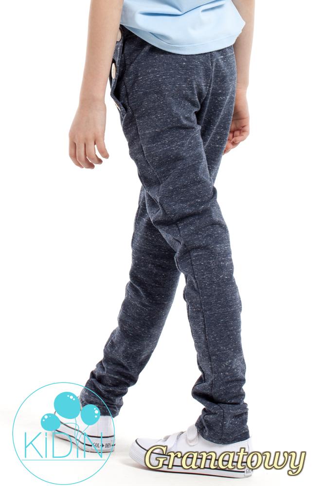 CM2169 Dziecięce spodnie rurki z ozdobnymi guzikami - granatowe