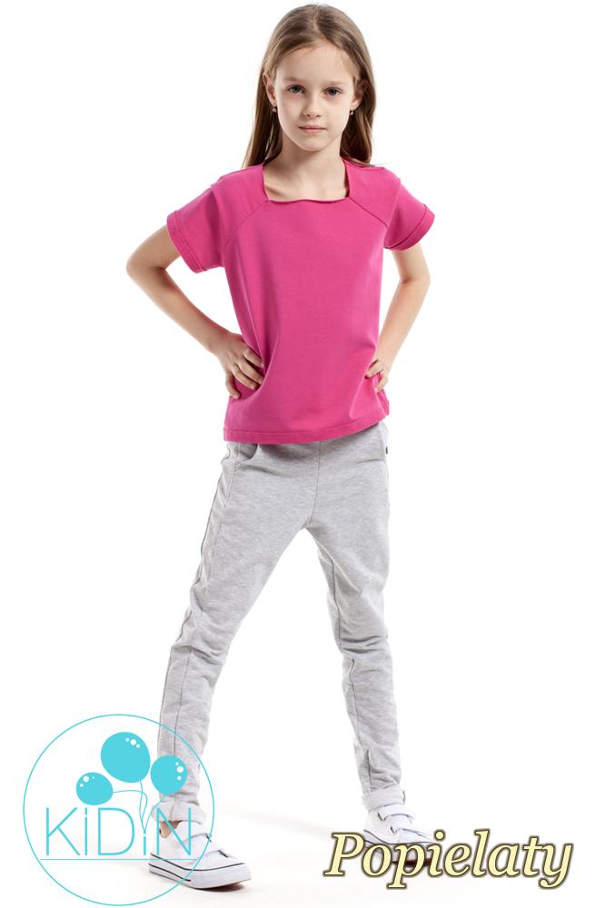 CM2169 Dziecięce spodnie rurki z ozdobnymi guzikami - popielate