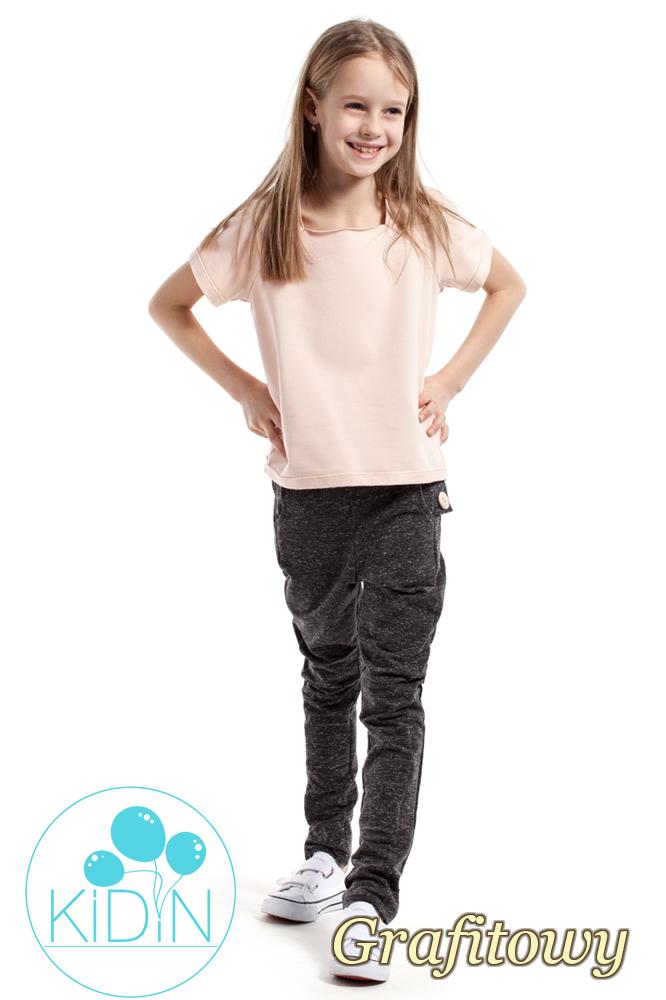 CM2169 Dziecięce spodnie rurki z ozdobnymi guzikami - grafitowe