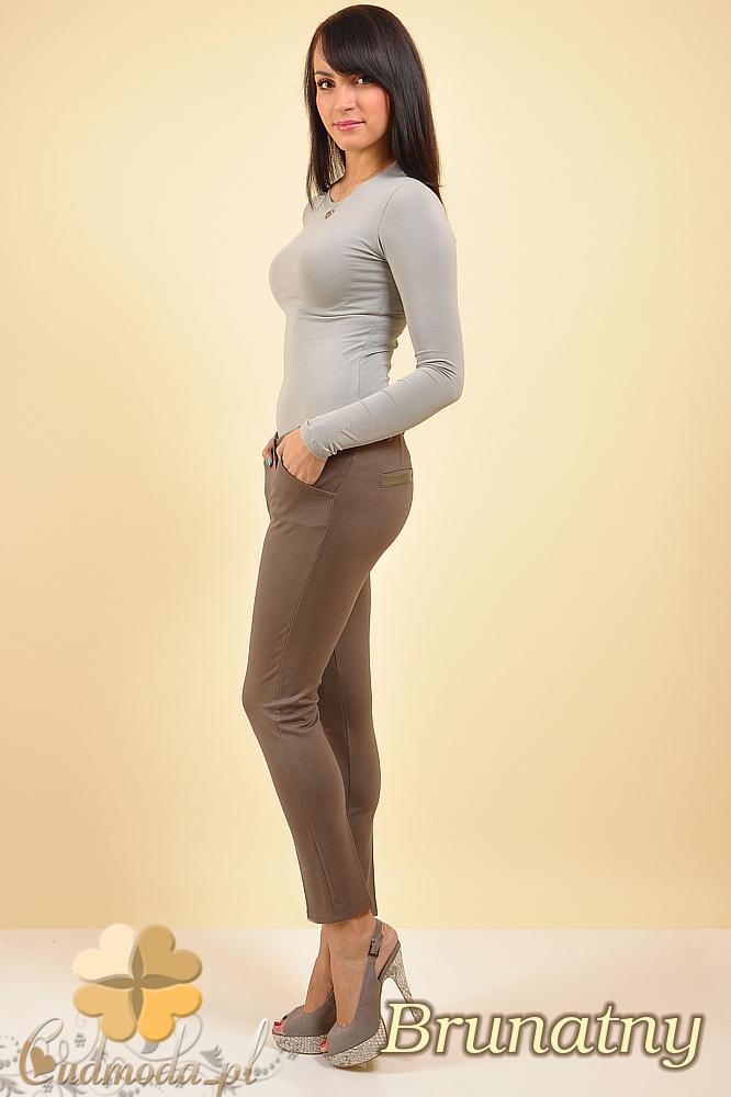 CM0171 Spodnie rurki kanty ze skórzaną wstawką  - brunatne