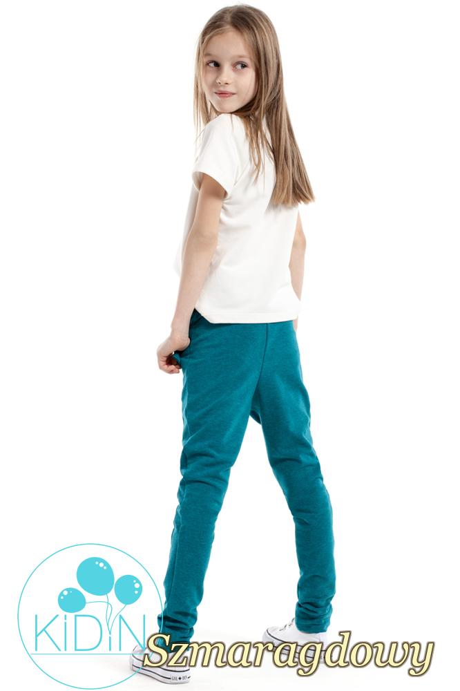 CM2169 Dziecięce spodnie rurki z ozdobnymi guzikami - szmaragdowe