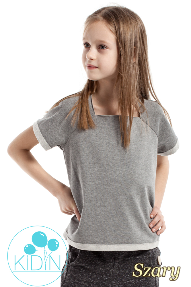 CM2170 Bluzka dziecięca z dekoltem karo - szara