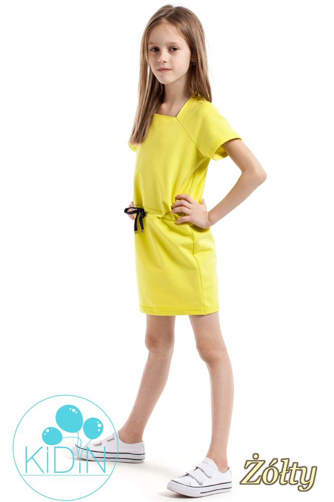 CM2171 Urocza sukienka z dekoltem karo - żółta