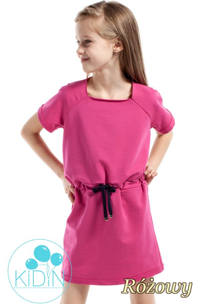 CM2171 Urocza sukienka z dekoltem karo - różowa