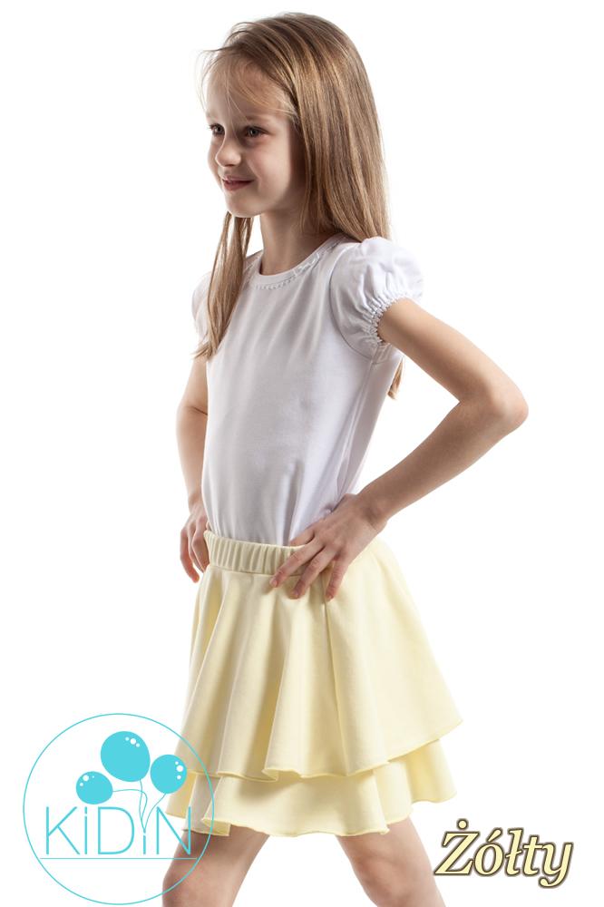 CM2173 Nowoczesna spódniczka dziecięca z podwójną falbanką - żółta