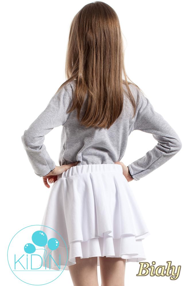 CM2173 Nowoczesna spódniczka dziecięca z podwójną falbanką - biała
