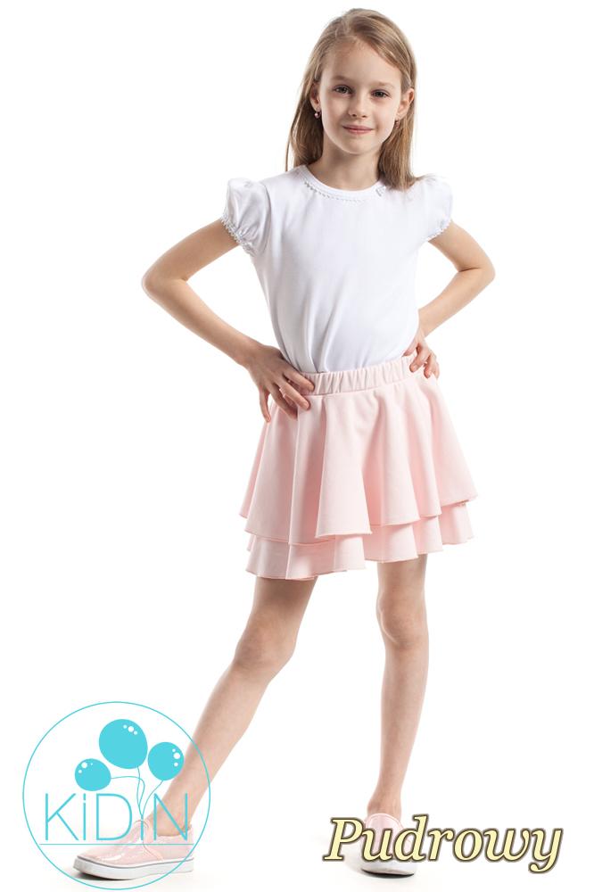 CM2173 Nowoczesna spódniczka dziecięca z podwójną falbanką - pudrowa