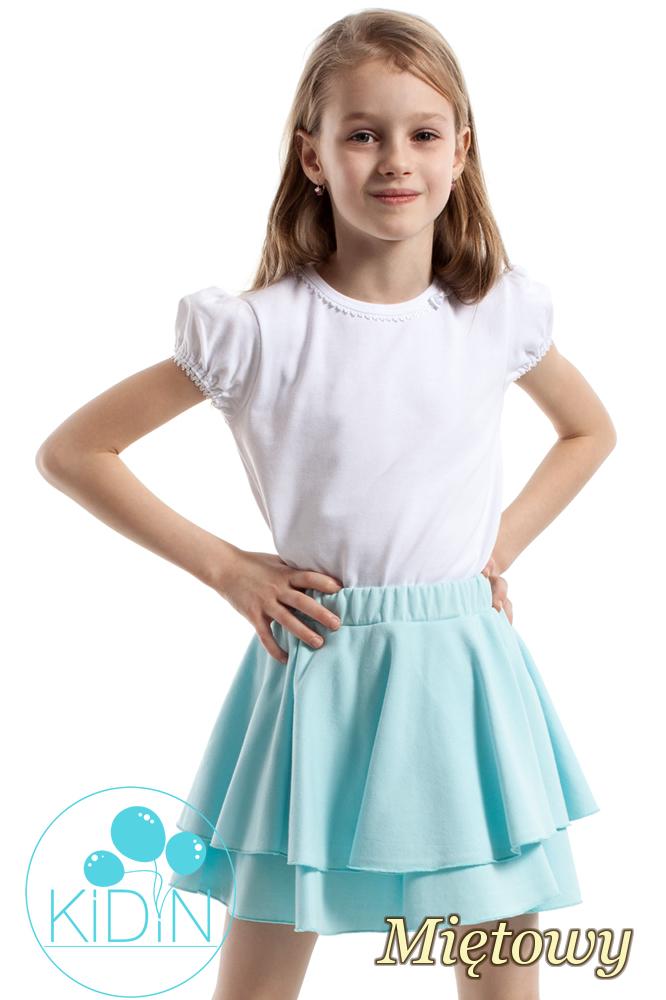 CM2173 Nowoczesna spódniczka dziecięca z podwójną falbanką - miętowa