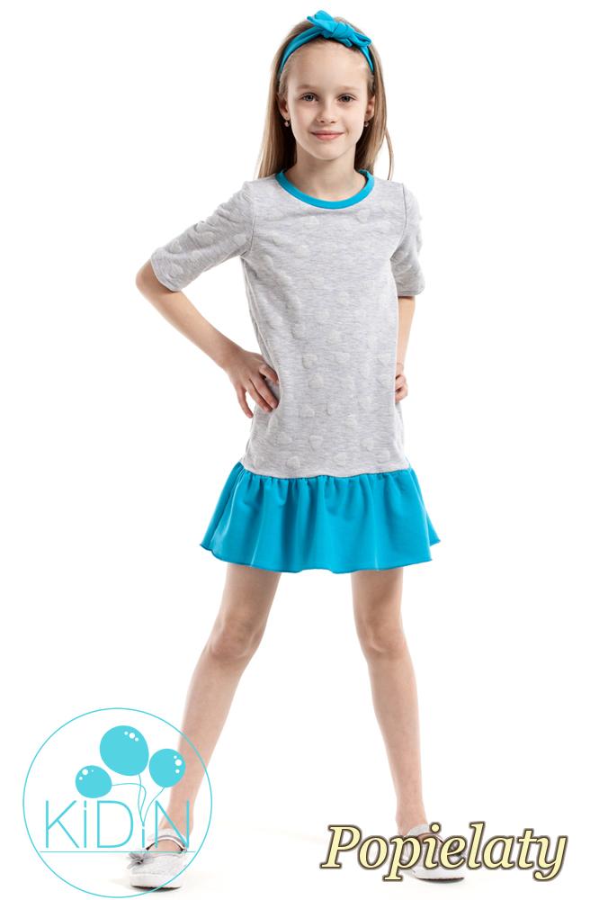 CM2174 Dziewczęca sukienka z nadrukiem w wystające serduszka - popielata
