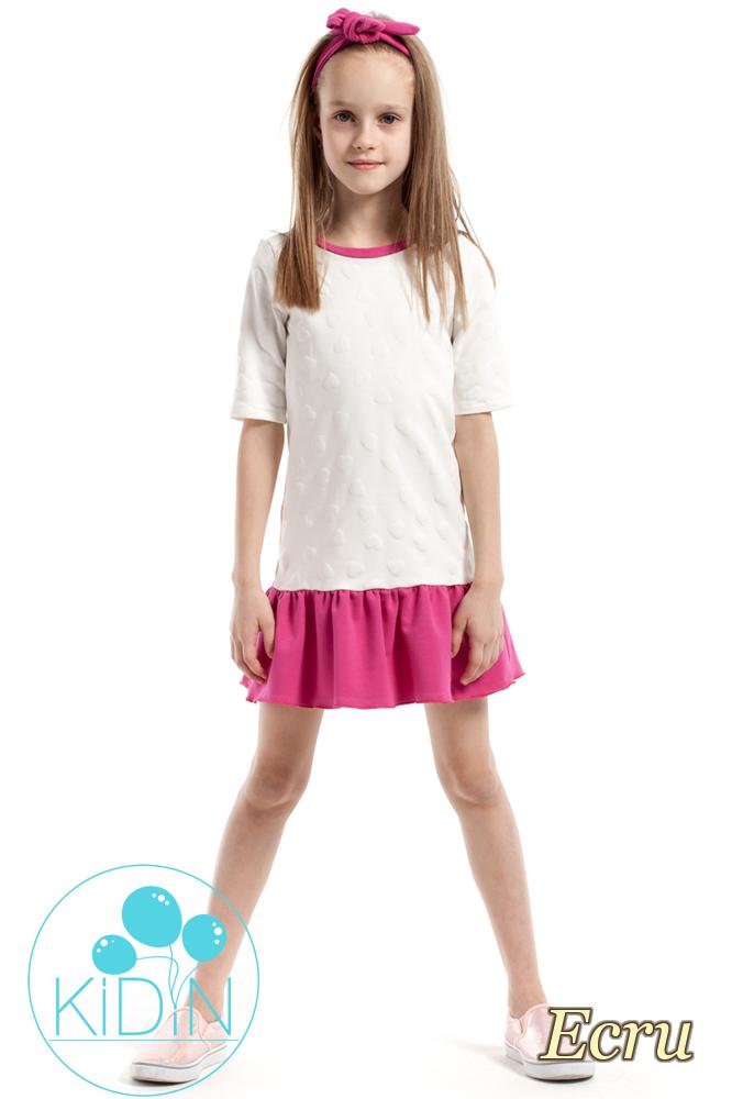 CM2174 Dziewczęca sukienka z nadrukiem w wystające serduszka - ecru