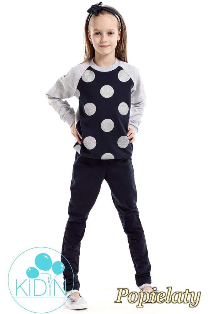 CM2162 Dziewczęca bluzeczka w brokatowe koła - popielata
