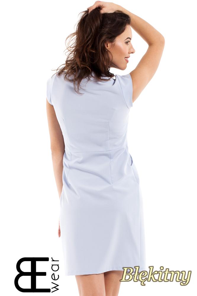CM2175 Nowoczesna sukienka szmizjerka zasuwana na zamek - błękitna