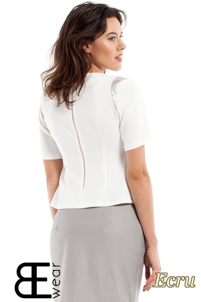 CM2177 Damska bluzka ze skórzanymi wstawkami - ecru
