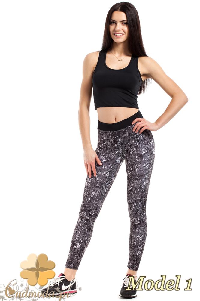 CM2186 Wyszczuplające legginsy sportowe we wzory - model 1
