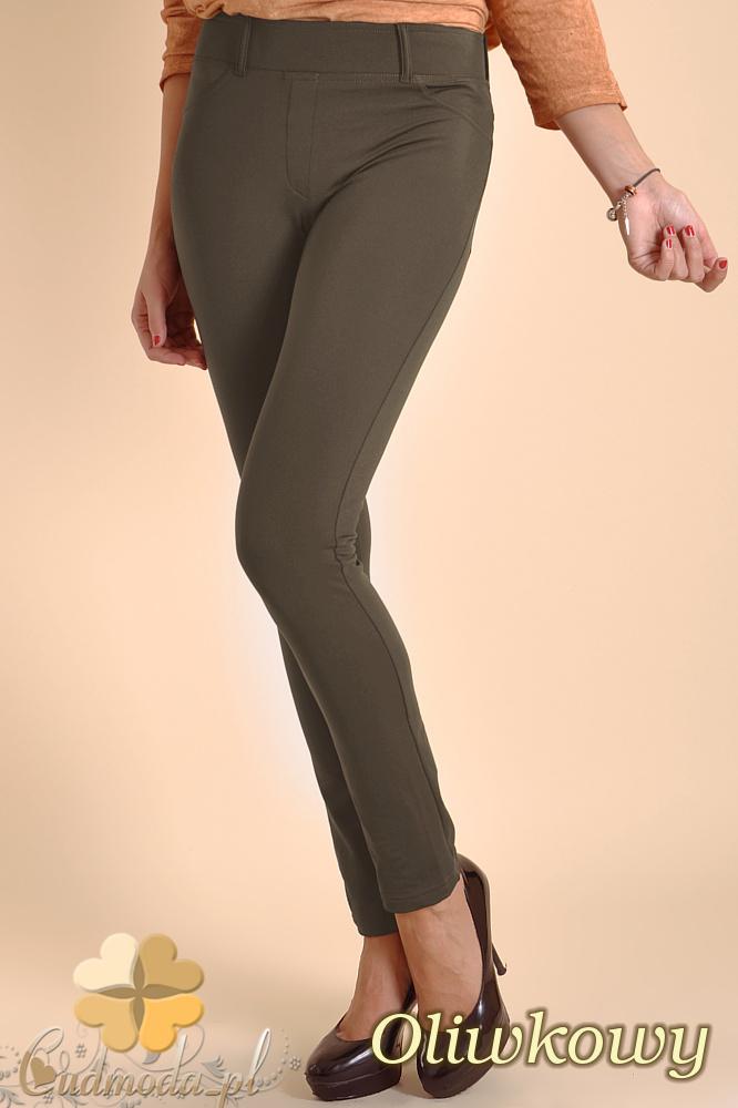 CM0032 Włoskie ciepłe legginsy ocieplone polarem - oliwkowe