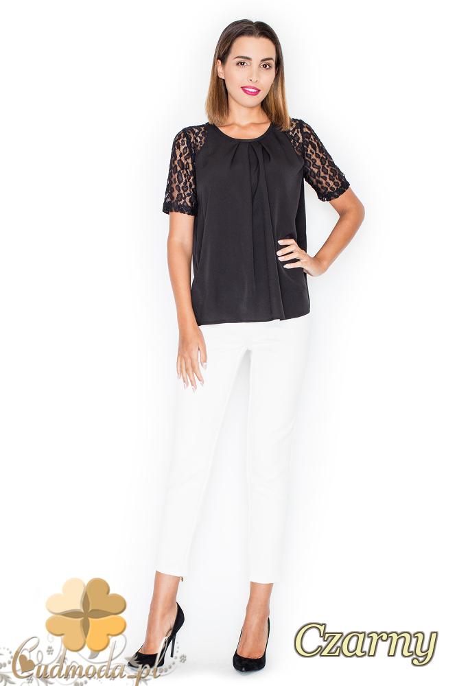 CM2205 Bluzka damska z koronkowymi rękawami - czarna